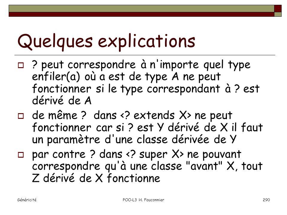GénéricitéPOO-L3 H. Fauconnier290 Quelques explications ? peut correspondre à n'importe quel type enfiler(a) où a est de type A ne peut fonctionner si