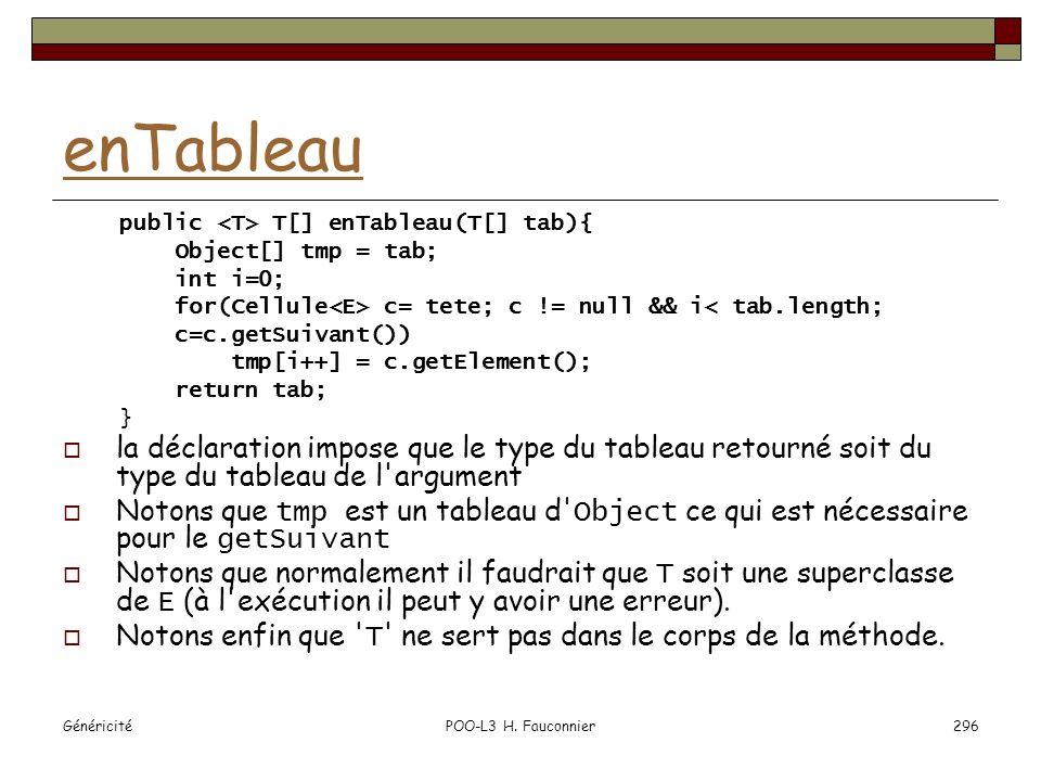 GénéricitéPOO-L3 H. Fauconnier296 enTableau public T[] enTableau(T[] tab){ Object[] tmp = tab; int i=0; for(Cellule c= tete; c != null && i< tab.lengt