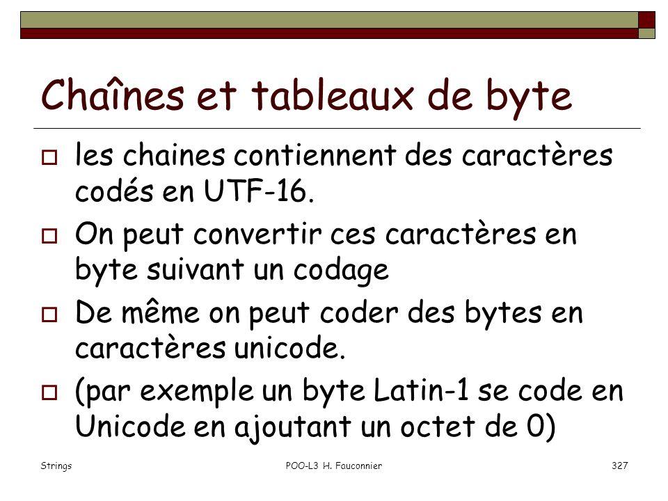 StringsPOO-L3 H. Fauconnier327 Chaînes et tableaux de byte les chaines contiennent des caractères codés en UTF-16. On peut convertir ces caractères en