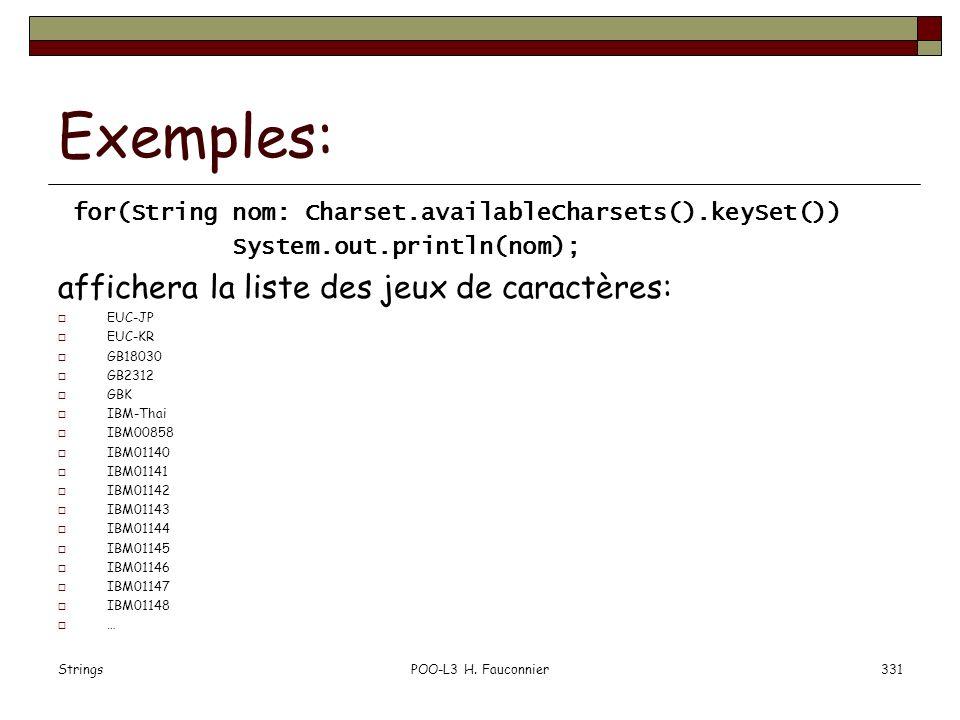 StringsPOO-L3 H. Fauconnier331 Exemples: for(String nom: Charset.availableCharsets().keySet()) System.out.println(nom); affichera la liste des jeux de