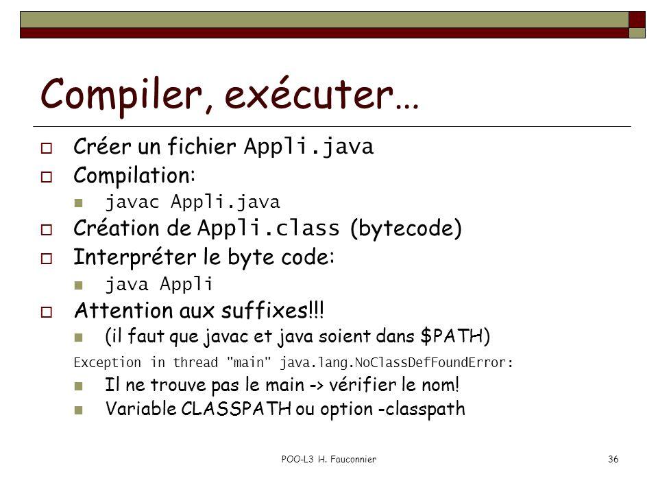 POO-L3 H. Fauconnier36 Compiler, exécuter… Créer un fichier Appli.java Compilation: javac Appli.java Création de Appli.class (bytecode) Interpréter le