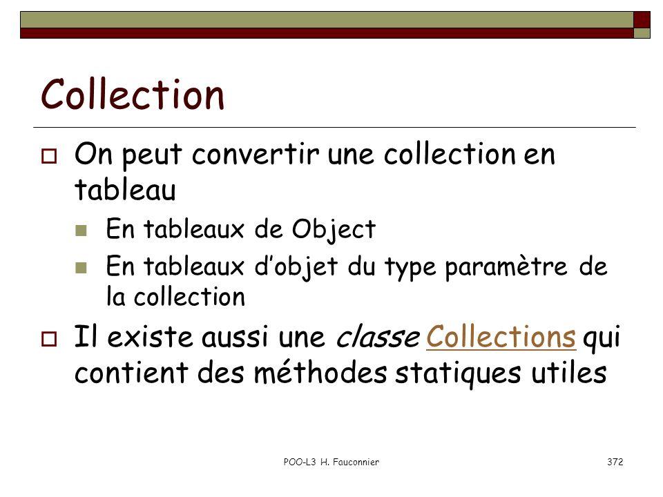 POO-L3 H. Fauconnier372 Collection On peut convertir une collection en tableau En tableaux de Object En tableaux dobjet du type paramètre de la collec