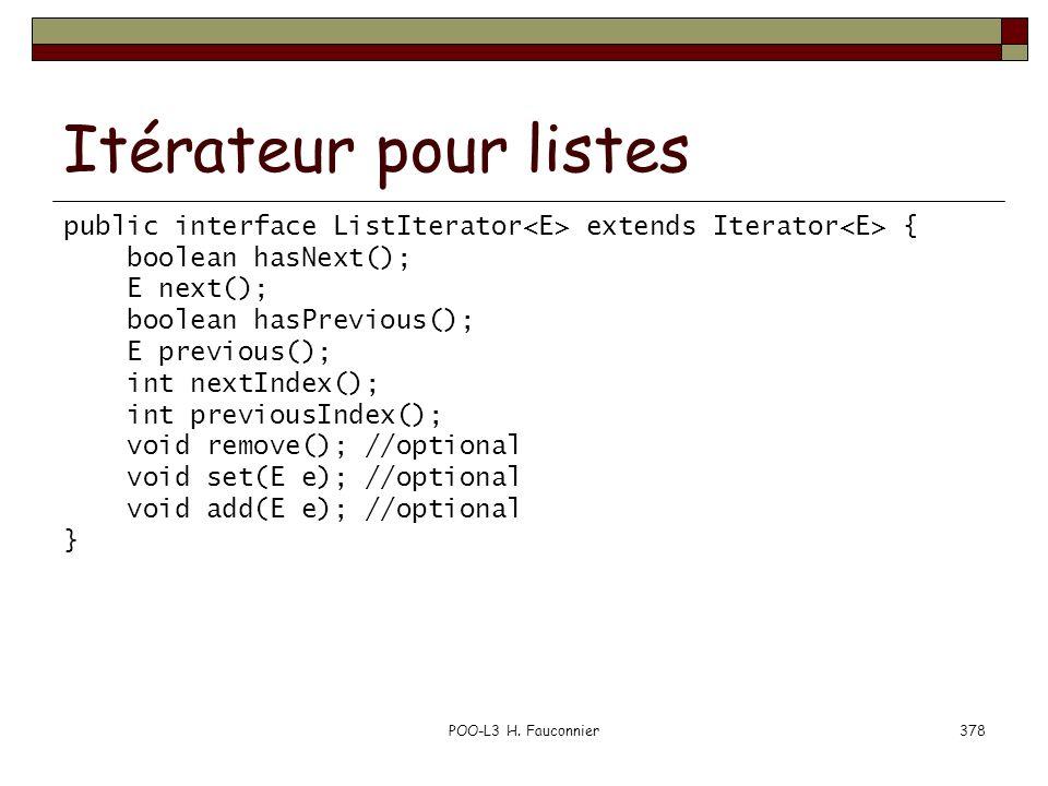 POO-L3 H. Fauconnier378 Itérateur pour listes public interface ListIterator extends Iterator { boolean hasNext(); E next(); boolean hasPrevious(); E p