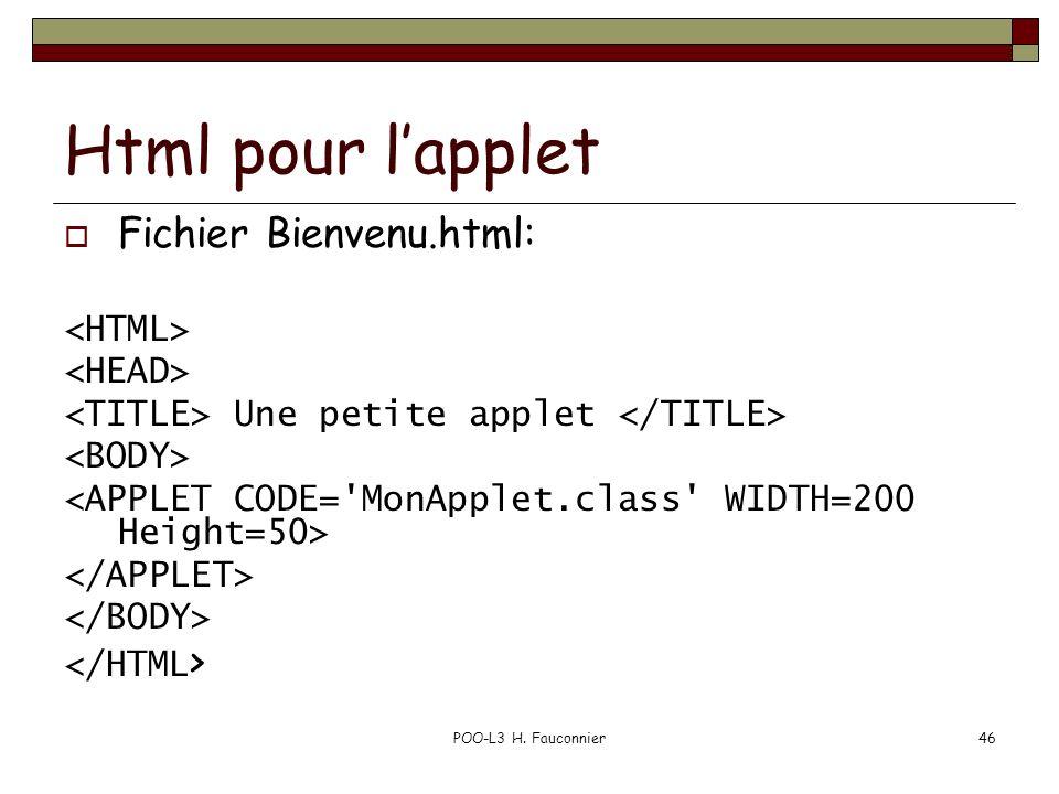 POO-L3 H. Fauconnier46 Html pour lapplet Fichier Bienvenu.html: Une petite applet