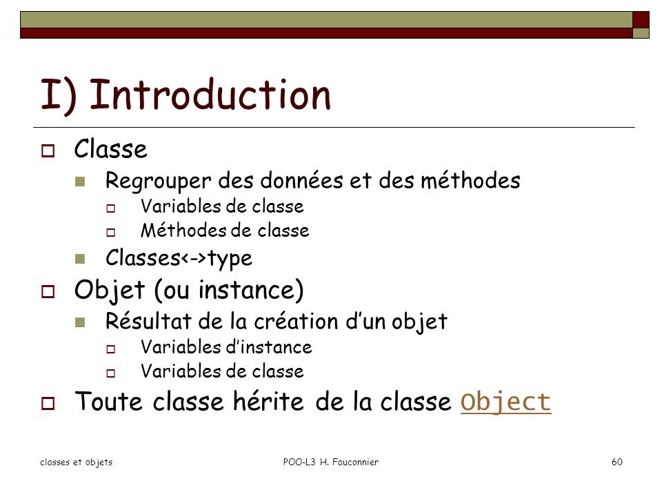 classes et objetsPOO-L3 H.