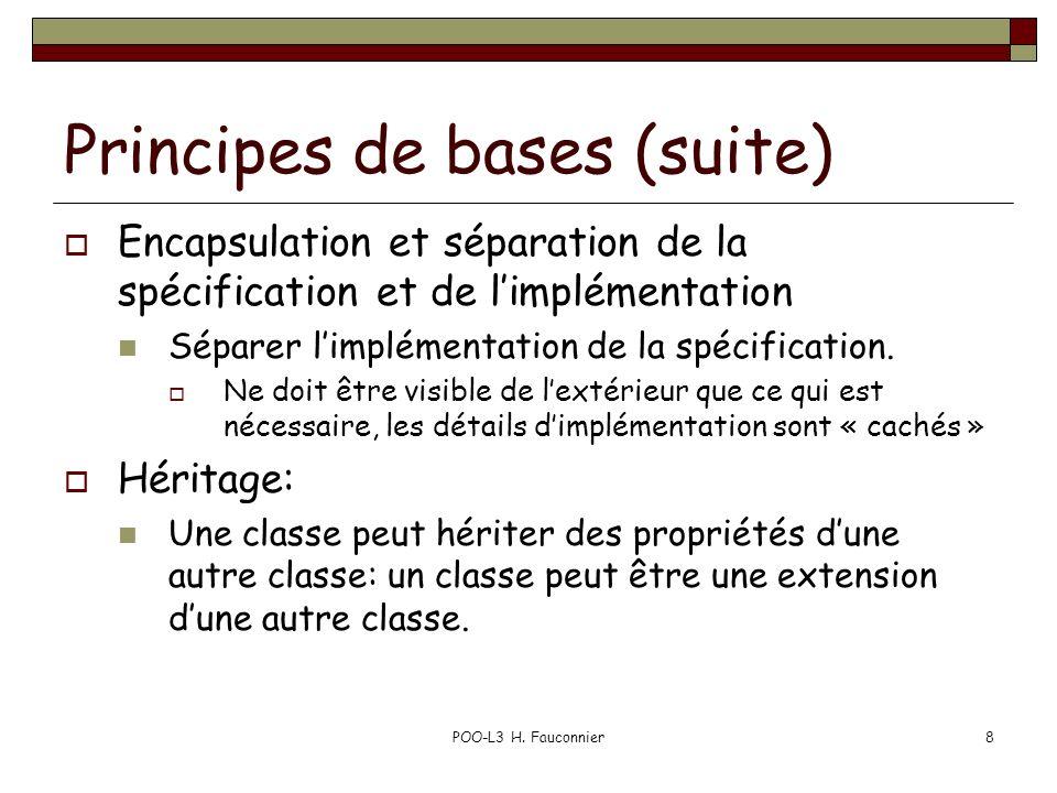 GénéricitéPOO-L3 H.Fauconnier279 Chapitre VII 1. Principes généraux 2.