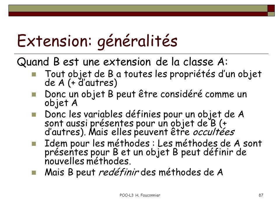 POO-L3 H. Fauconnier87 Extension: généralités Quand B est une extension de la classe A: Tout objet de B a toutes les propriétés dun objet de A (+ daut
