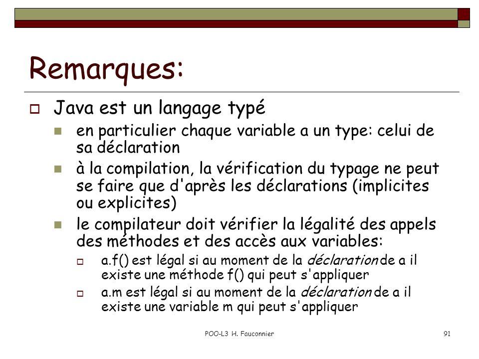 POO-L3 H. Fauconnier91 Remarques: Java est un langage typé en particulier chaque variable a un type: celui de sa déclaration à la compilation, la véri