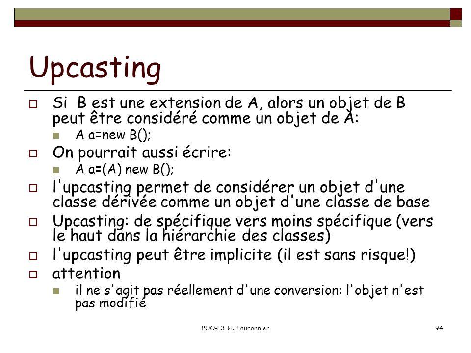 POO-L3 H. Fauconnier94 Upcasting Si B est une extension de A, alors un objet de B peut être considéré comme un objet de A: A a=new B(); On pourrait au