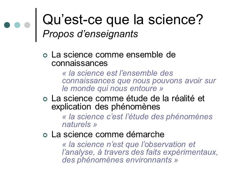 Quest-ce que la science? Propos denseignants La science comme ensemble de connaissances « la science est lensemble des connaissances que nous pouvons