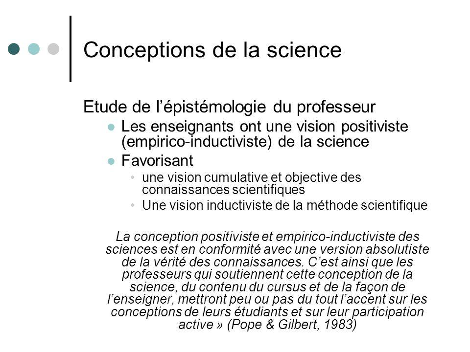 Conceptions de la science Etude de lépistémologie du professeur Les enseignants ont une vision positiviste (empirico-inductiviste) de la science Favor