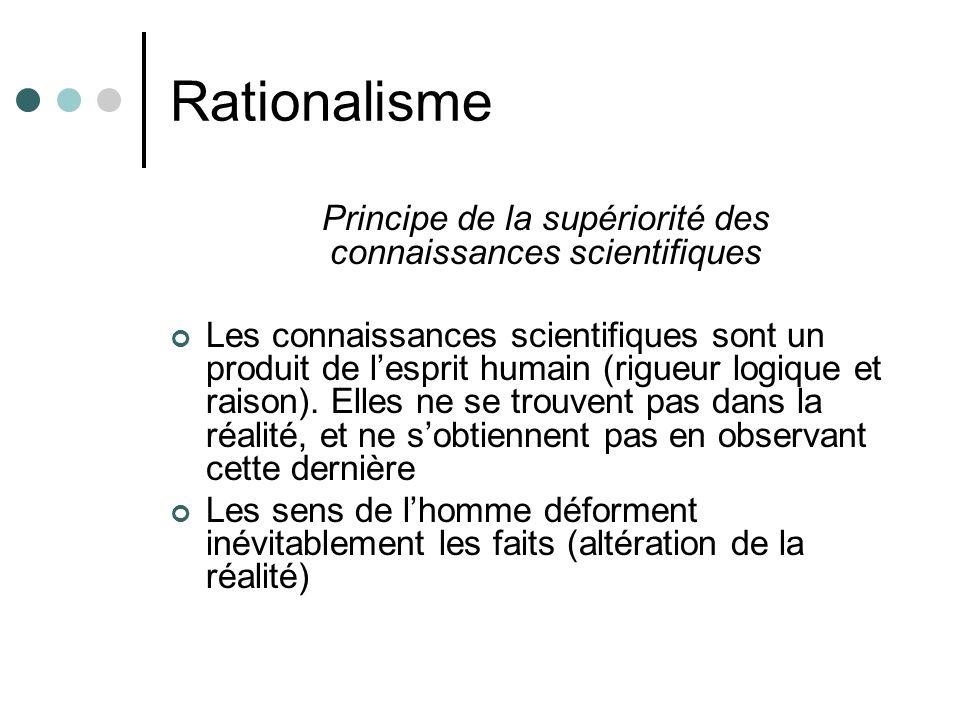 Rationalisme Principe de la supériorité des connaissances scientifiques Les connaissances scientifiques sont un produit de lesprit humain (rigueur log