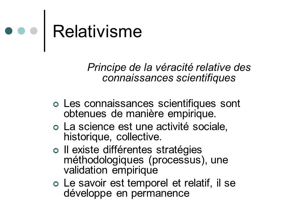 Relativisme Principe de la véracité relative des connaissances scientifiques Les connaissances scientifiques sont obtenues de manière empirique. La sc
