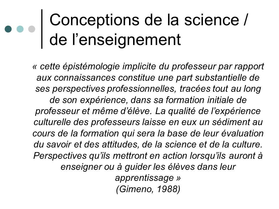 Conceptions de la science / de lenseignement « cette épistémologie implicite du professeur par rapport aux connaissances constitue une part substantie