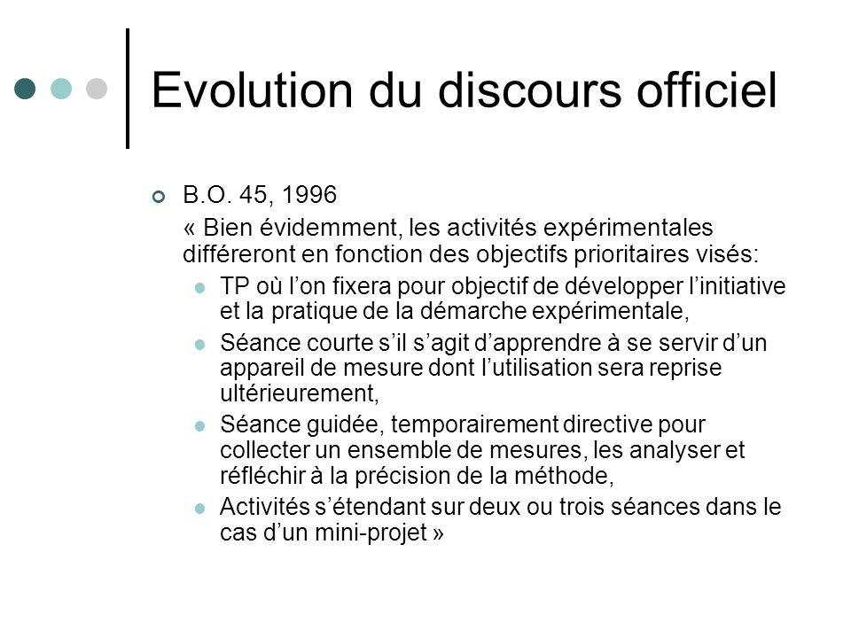 Evolution du discours officiel B.O. 45, 1996 « Bien évidemment, les activités expérimentales différeront en fonction des objectifs prioritaires visés: