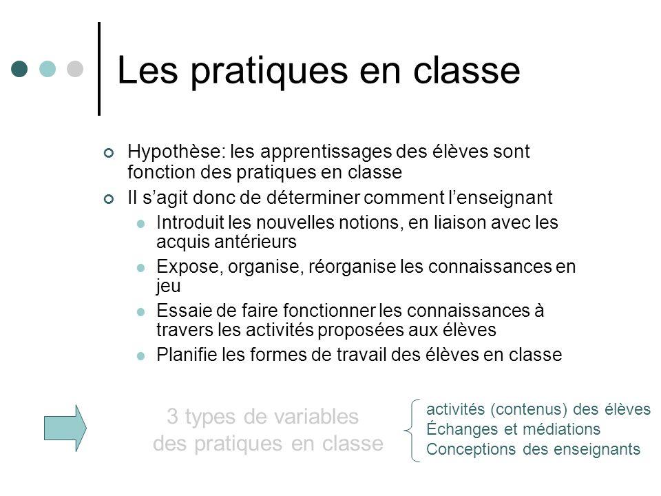 Les pratiques en classe Hypothèse: les apprentissages des élèves sont fonction des pratiques en classe Il sagit donc de déterminer comment lenseignant