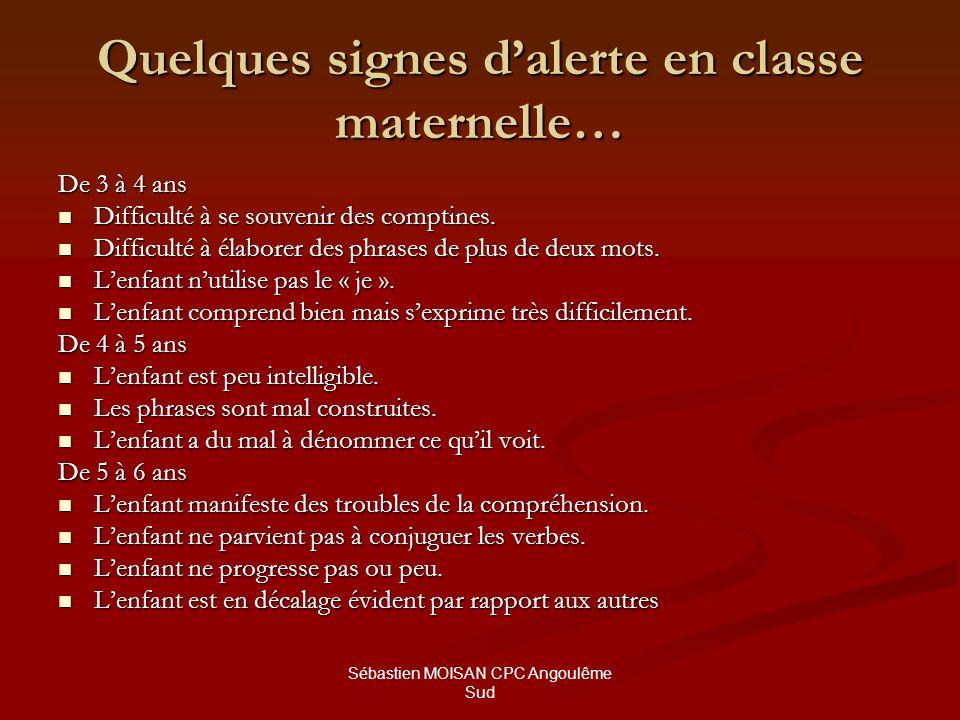 Sébastien MOISAN CPC Angoulême Sud Quelques signes dalerte en classe maternelle… De 3 à 4 ans Difficulté à se souvenir des comptines. Difficulté à se
