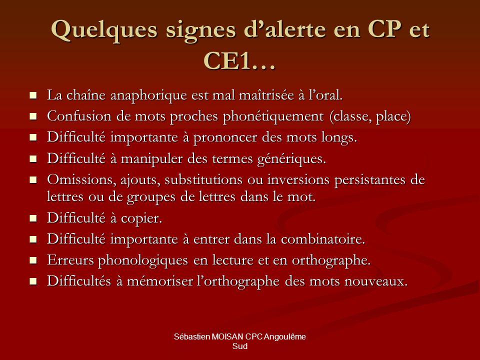 Sébastien MOISAN CPC Angoulême Sud Quelques signes dalerte en CP et CE1… La chaîne anaphorique est mal maîtrisée à loral. La chaîne anaphorique est ma