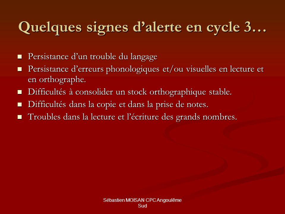 Sébastien MOISAN CPC Angoulême Sud Quelques erreurs typiques de la dyslexie en lecture et en orthographe.