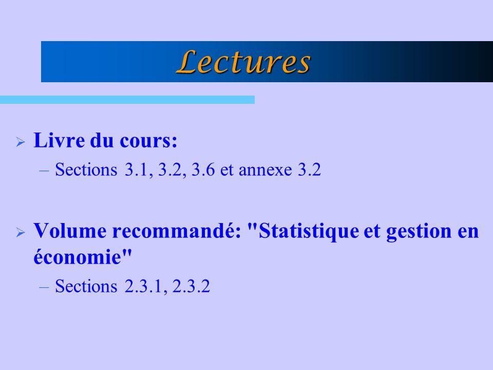 Lectures Livre du cours: –Sections 3.1, 3.2, 3.6 et annexe 3.2 Volume recommandé: Statistique et gestion en économie –Sections 2.3.1, 2.3.2