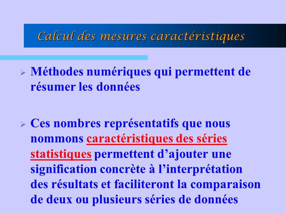 Calcul des mesures caractéristiques Méthodes numériques qui permettent de résumer les données Ces nombres représentatifs que nous nommons caractéristiques des séries statistiques permettent dajouter une signification concrète à linterprétation des résultats et faciliteront la comparaison de deux ou plusieurs séries de données