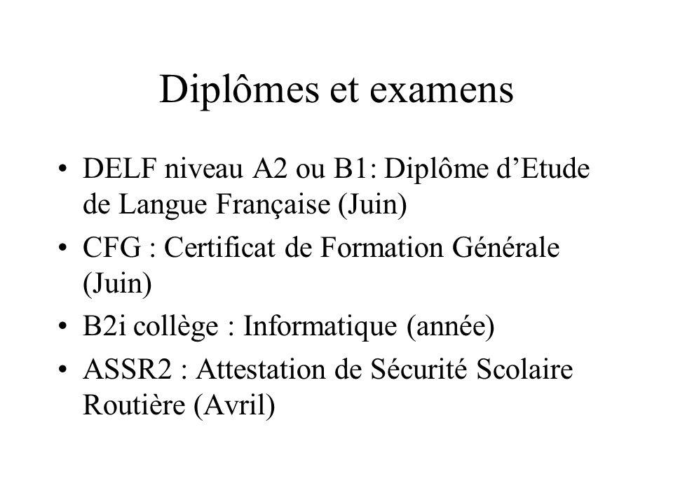 Diplômes et examens DELF niveau A2 ou B1: Diplôme dEtude de Langue Française (Juin) CFG : Certificat de Formation Générale (Juin) B2i collège : Inform