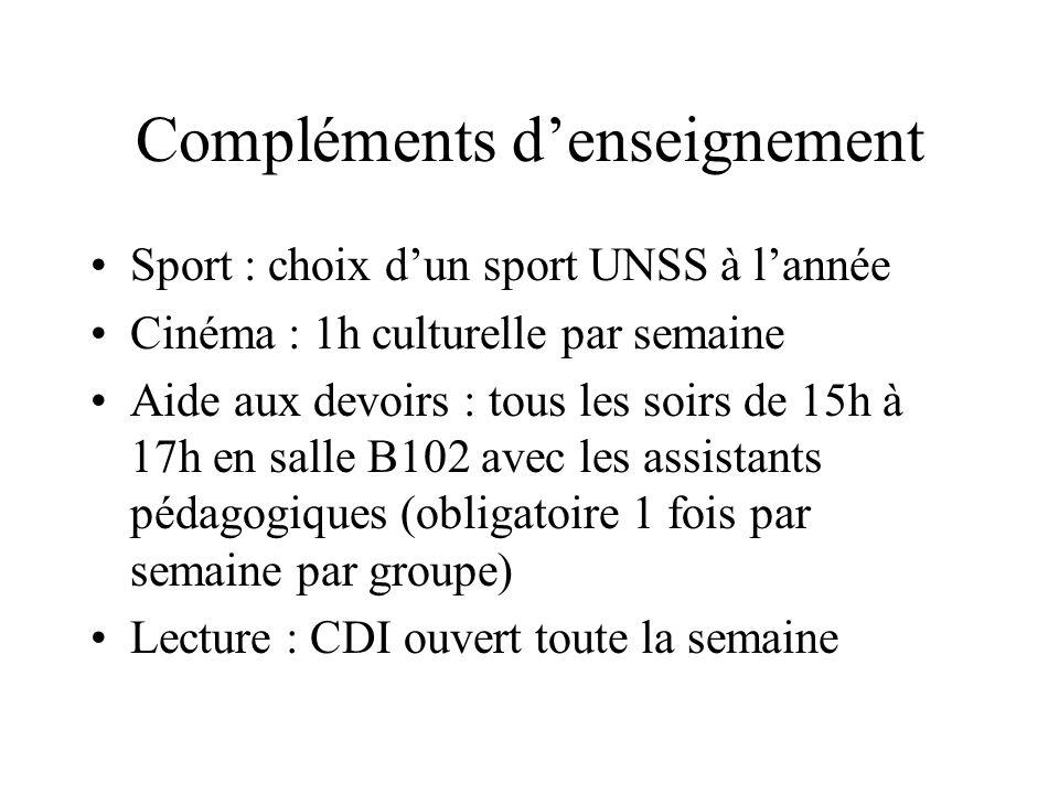 Compléments denseignement Sport : choix dun sport UNSS à lannée Cinéma : 1h culturelle par semaine Aide aux devoirs : tous les soirs de 15h à 17h en s