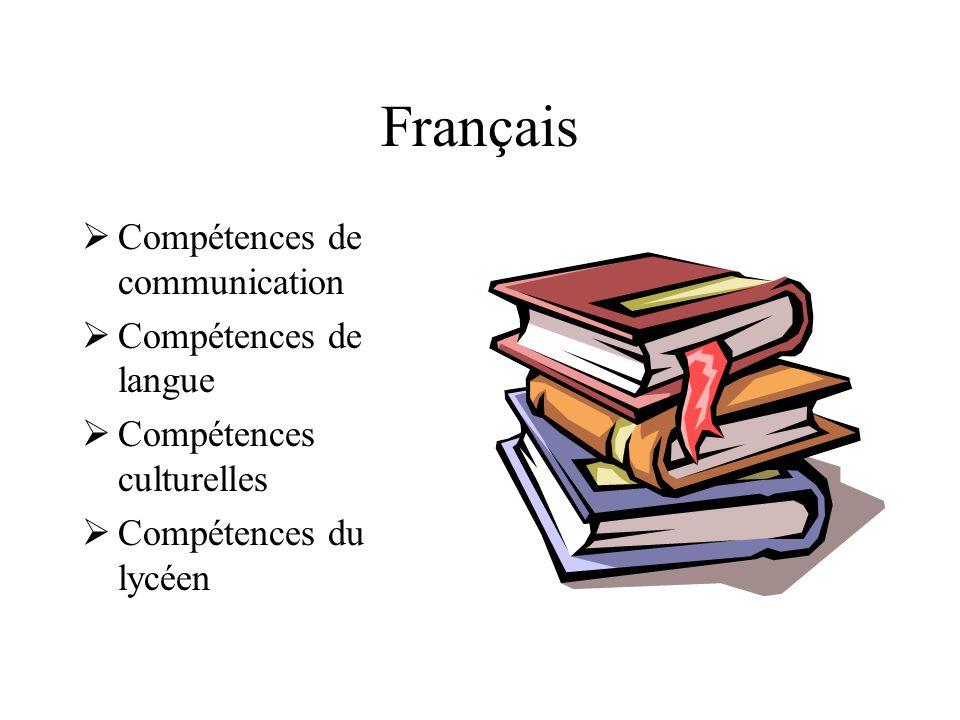 Français Compétences de communication Compétences de langue Compétences culturelles Compétences du lycéen