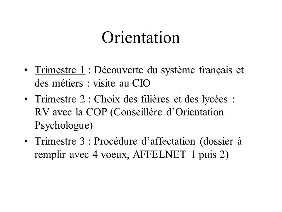 Orientation Trimestre 1 : Découverte du système français et des métiers : visite au CIO Trimestre 2 : Choix des filières et des lycées : RV avec la CO