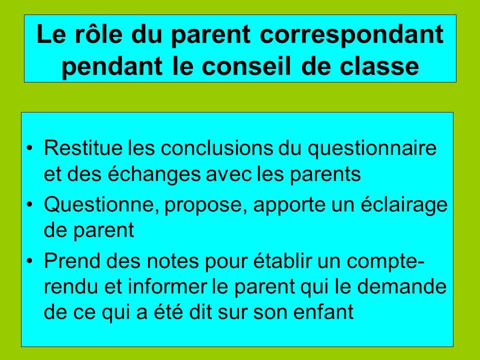 Le rôle du parent correspondant pendant le conseil de classe Restitue les conclusions du questionnaire et des échanges avec les parents Questionne, pr