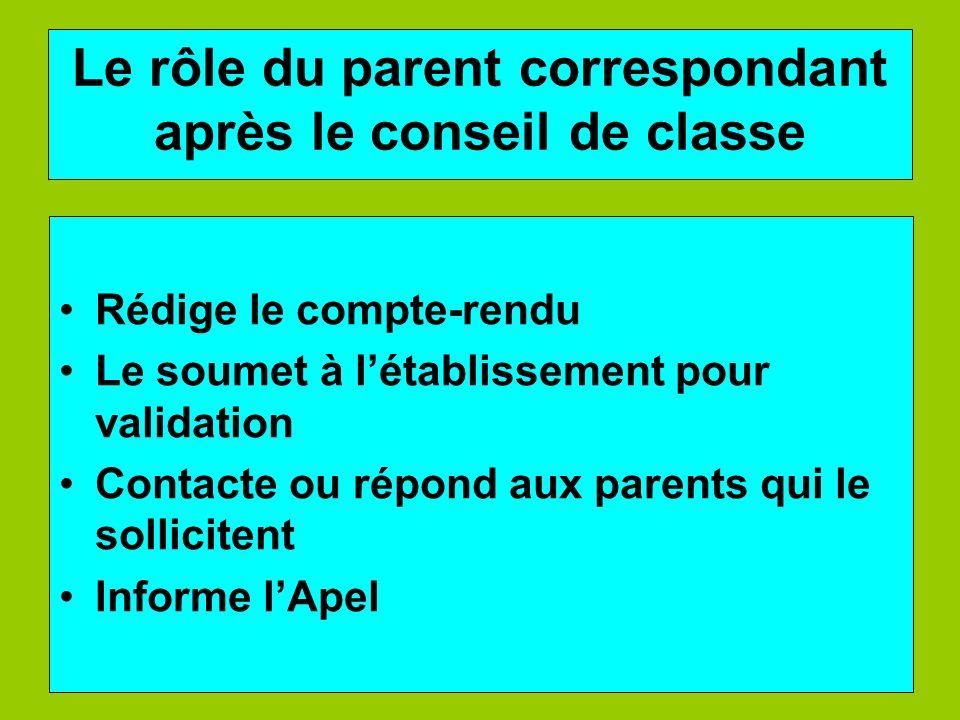 Le rôle du parent correspondant après le conseil de classe Rédige le compte-rendu Le soumet à létablissement pour validation Contacte ou répond aux pa