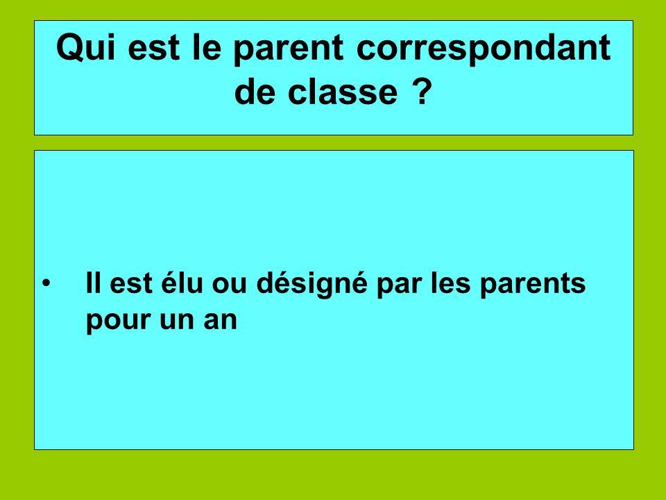 Qui est le parent correspondant de classe ? Il est élu ou désigné par les parents pour un an