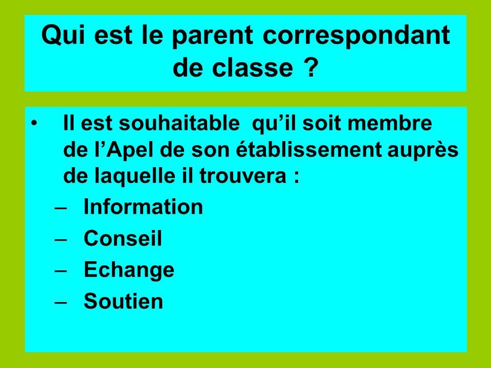 Qui est le parent correspondant de classe ? Il est souhaitable quil soit membre de lApel de son établissement auprès de laquelle il trouvera : –Inform