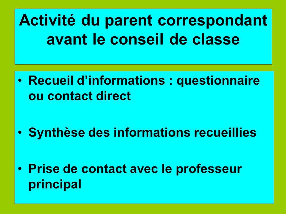Activité du parent correspondant avant le conseil de classe Recueil dinformations : questionnaire ou contact direct Synthèse des informations recueill