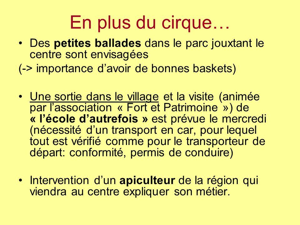 En plus du cirque… Des petites ballades dans le parc jouxtant le centre sont envisagées (-> importance davoir de bonnes baskets) Une sortie dans le vi