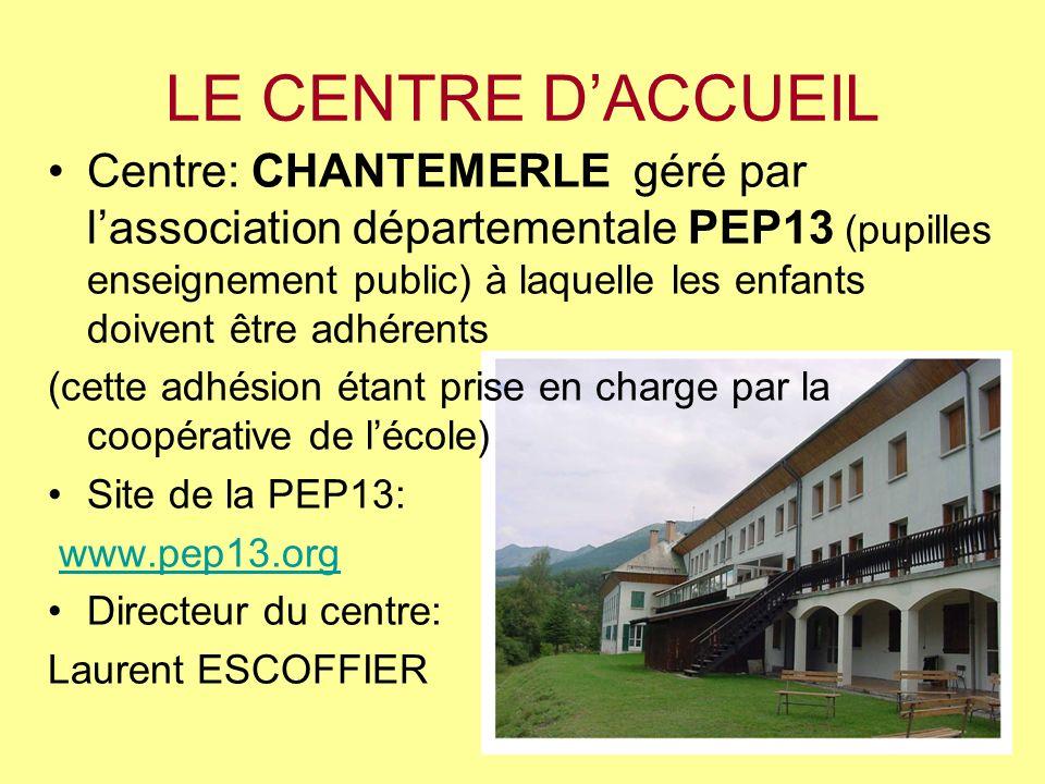 LE CENTRE DACCUEIL Centre: CHANTEMERLE géré par lassociation départementale PEP13 (pupilles enseignement public) à laquelle les enfants doivent être a