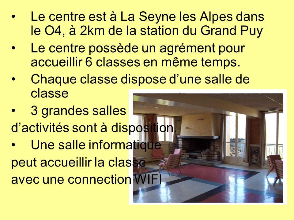 Le centre est à La Seyne les Alpes dans le O4, à 2km de la station du Grand Puy Le centre possède un agrément pour accueillir 6 classes en même temps.