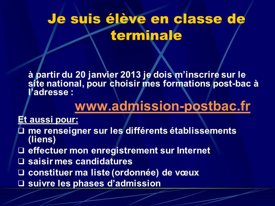 Je suis élève en classe de terminale à partir du 20 janvier 2013 je dois minscrire sur le site national, pour choisir mes formations post-bac à ladres