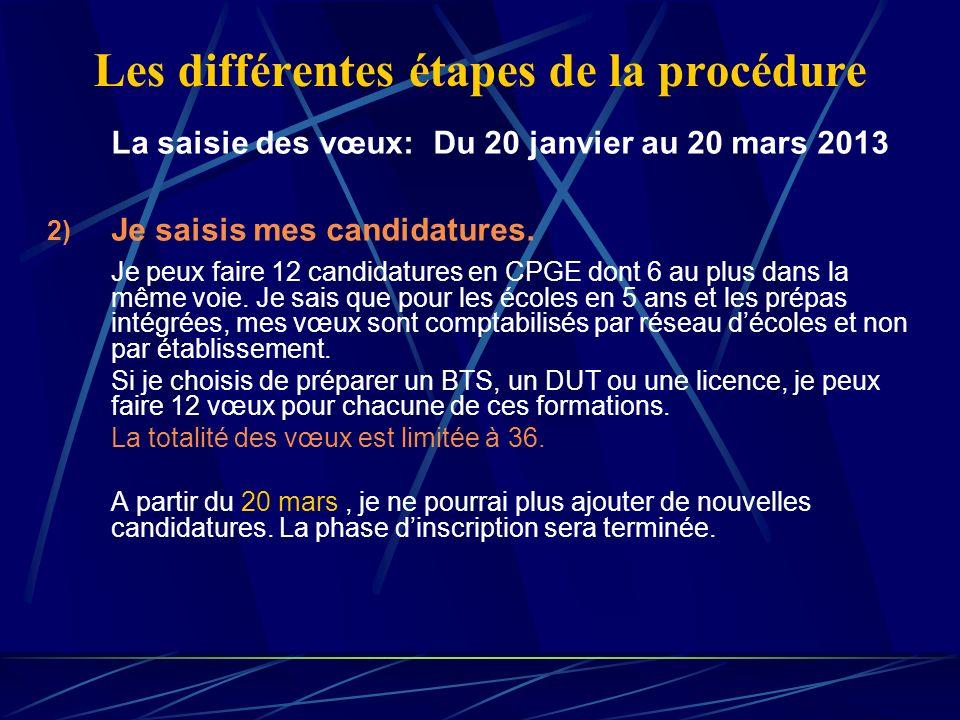 Les différentes étapes de la procédure La saisie des vœux: Du 20 janvier au 20 mars 2013 2) Je saisis mes candidatures. Je peux faire 12 candidatures