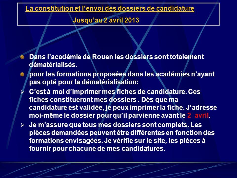 La constitution et lenvoi des dossiers de candidature Jusquau 2 avril 2013 Dans lacadémie de Rouen les dossiers sont totalement dématérialisés. pour l