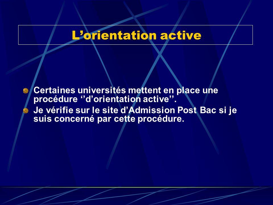 Lorientation active Certaines universités mettent en place une procédure dorientation active. Je vérifie sur le site dAdmission Post Bac si je suis co