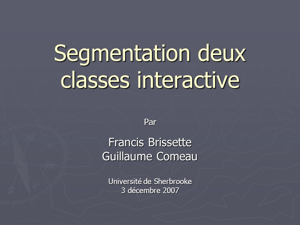 Plan de la présentation Mise en contexte du projet Les méthodes implémentées Perspectives Conclusion et remerciements