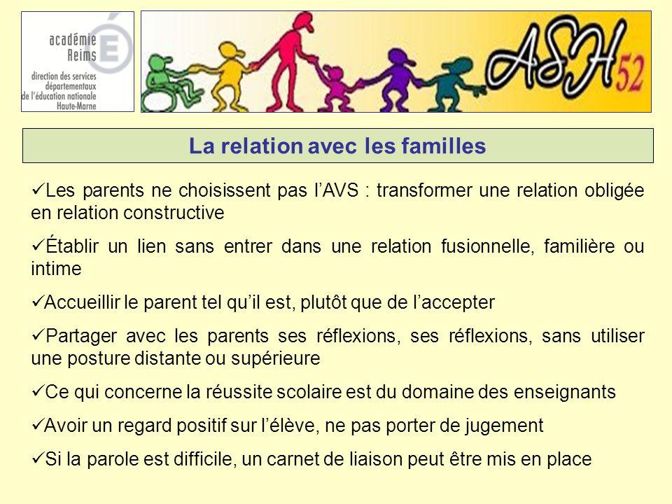 La relation avec les familles Les parents ne choisissent pas lAVS : transformer une relation obligée en relation constructive Établir un lien sans ent