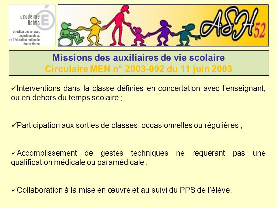 Missions des auxiliaires de vie scolaire Circulaire MEN n° 2003-092 du 11 juin 2003 Interventions dans la classe définies en concertation avec lenseig