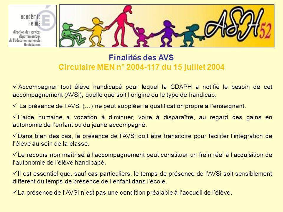 Finalités des AVS Circulaire MEN n° 2004-117 du 15 juillet 2004 Accompagner tout élève handicapé pour lequel la CDAPH a notifié le besoin de cet accom