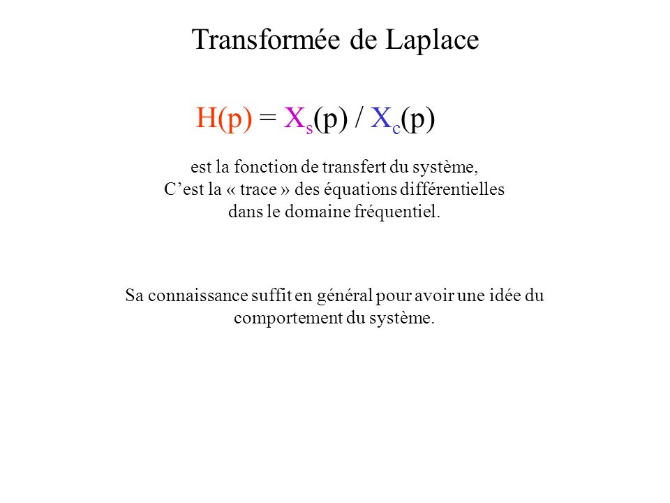 H(p) = X s (p) / X c (p) Transformée de Laplace est la fonction de transfert du système, Cest la « trace » des équations différentielles dans le domaine fréquentiel.