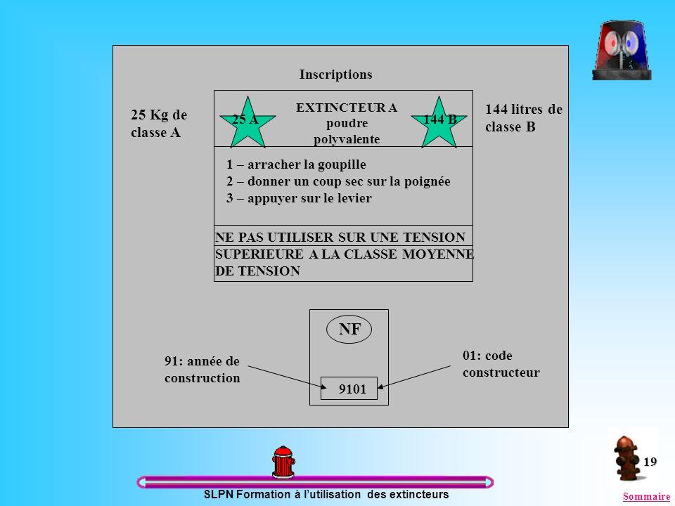 SLPN Formation à lutilisation des extincteurs 19 Étiquette extincteur EXTINCTEUR A poudre polyvalente 1 – arracher la goupille 2 – donner un coup sec