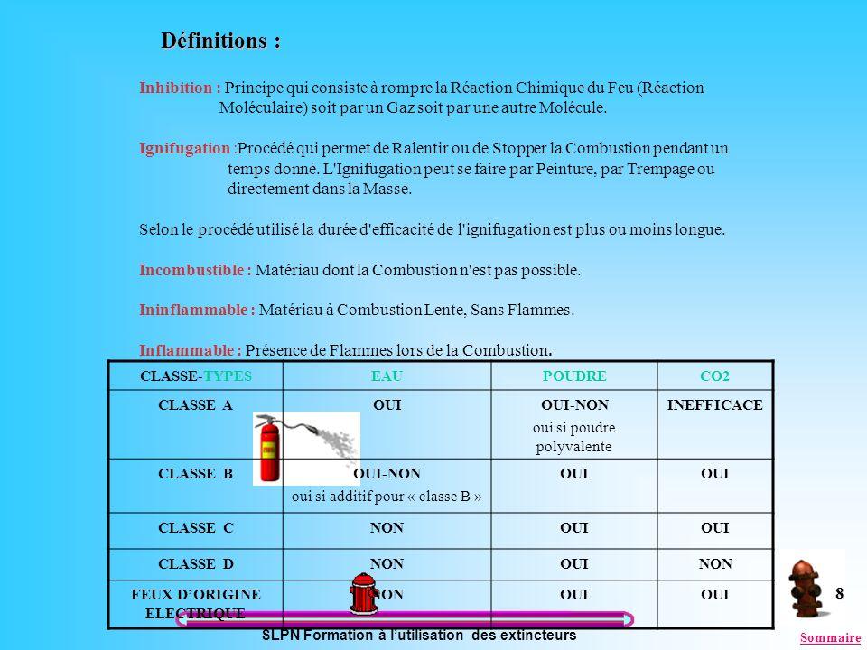 SLPN Formation à lutilisation des extincteurs 8 Définitions : Inhibition : Principe qui consiste à rompre la Réaction Chimique du Feu (Réaction Molécu