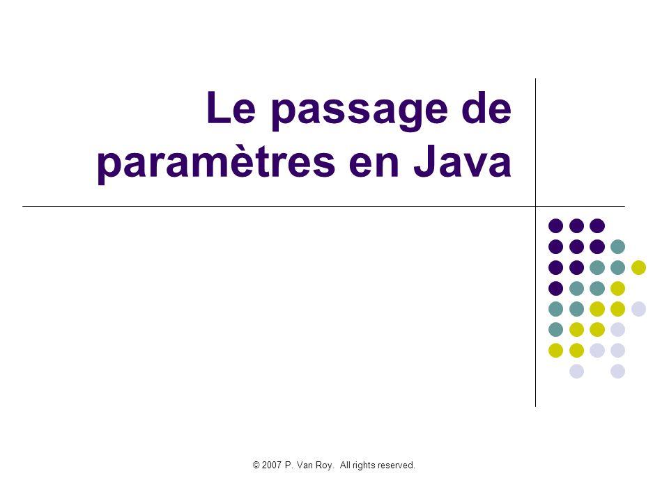 © 2007 P. Van Roy. All rights reserved. Le passage de paramètres en Java