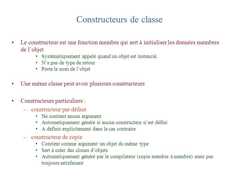 Constructeurs de classe Le constructeur est une fonction membre qui sert à initialiser les données membres de lobjet Systématiquement appelé quand un
